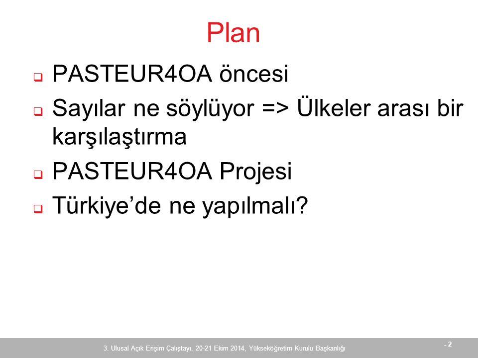 - 2 Plan  PASTEUR4OA öncesi  Sayılar ne söylüyor => Ülkeler arası bir karşılaştırma  PASTEUR4OA Projesi  Türkiye'de ne yapılmalı.