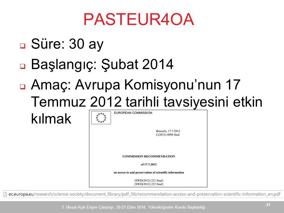 - 21 PASTEUR4OA  Süre: 30 ay  Başlangıç: Şubat 2014  Amaç: Avrupa Komisyonu'nun 17 Temmuz 2012 tarihli tavsiyesini etkin kılmak 3.