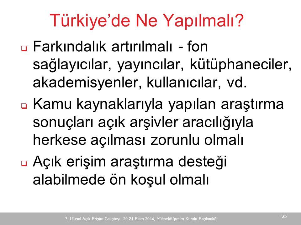 - 25 Türkiye'de Ne Yapılmalı.