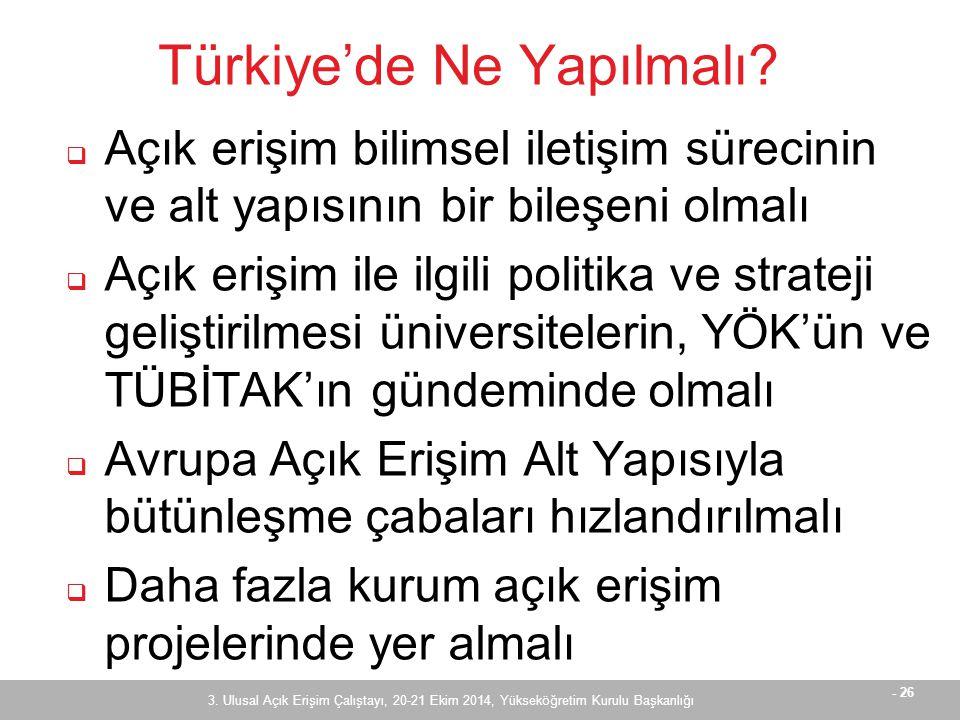 - 26 Türkiye'de Ne Yapılmalı.