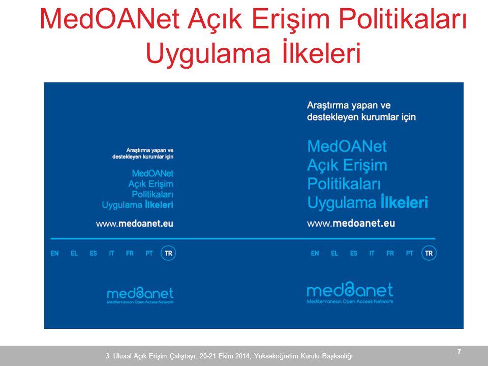 - 8 MedOANet Açık Erişim Politikaları Uygulama İlkeleri  Proje ve açık erişim hakkında  Araştırma yapan kurumlar için politika geliştirme ilkeleri  Araştırma fonlayan kurumlar için politika geliştirme ilkeleri 3.