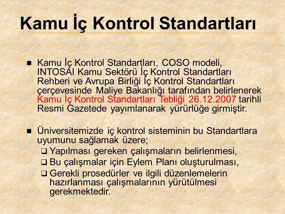 Kamu İç Kontrol Standartları, COSO modeli, INTOSAI Kamu Sektörü İç Kontrol Standartları Rehberi ve Avrupa Birliği İç Kontrol Standartları çerçevesinde