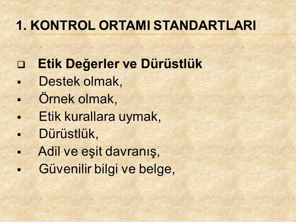 1. KONTROL ORTAMI STANDARTLARI  Etik Değerler ve Dürüstlük  Destek olmak,  Örnek olmak,  Etik kurallara uymak,  Dürüstlük,  Adil ve eşit davranı