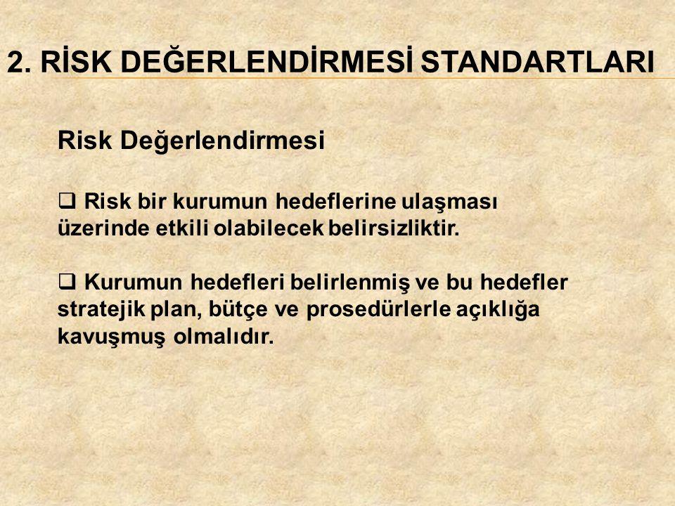 2. RİSK DEĞERLENDİRMESİ STANDARTLARI Risk Değerlendirmesi  Risk bir kurumun hedeflerine ulaşması üzerinde etkili olabilecek belirsizliktir.  Kurumun