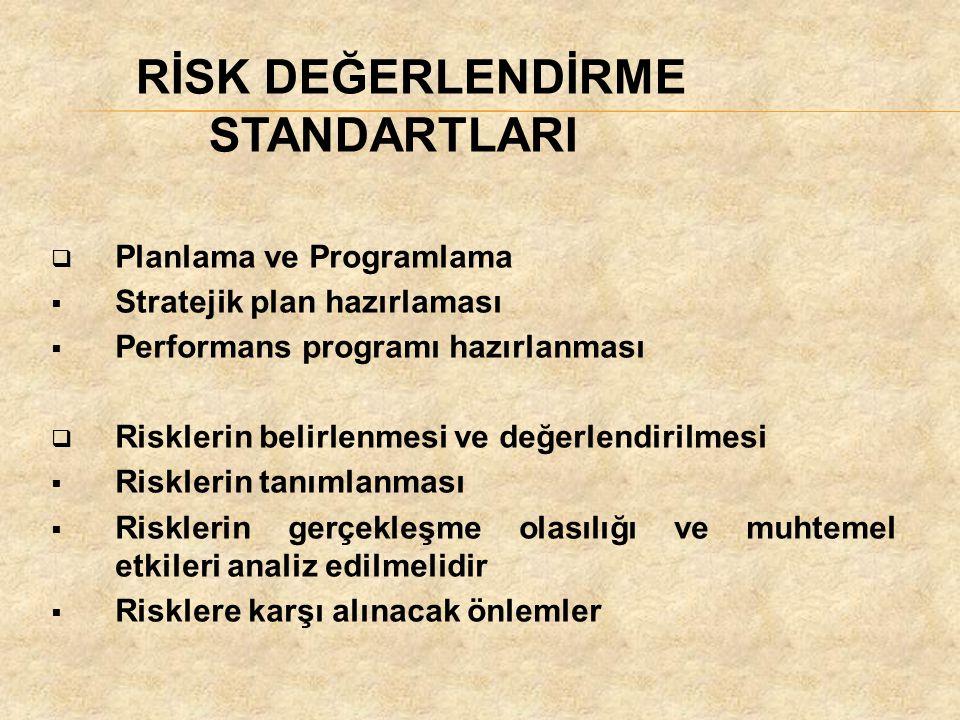 RİSK DEĞERLENDİRME STANDARTLARI  Planlama ve Programlama  Stratejik plan hazırlaması  Performans programı hazırlanması  Risklerin belirlenmesi ve