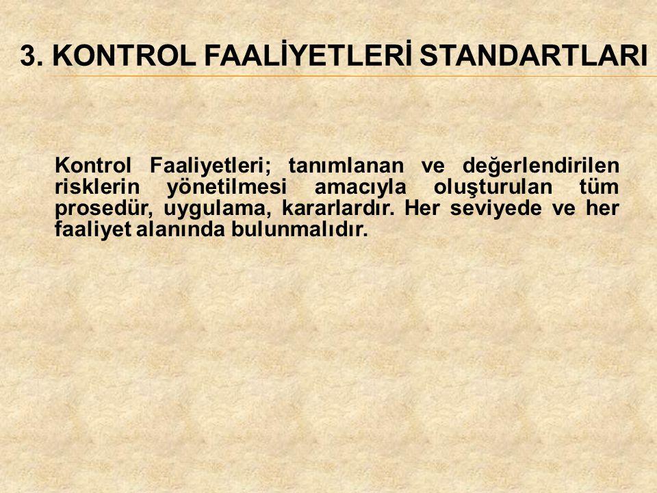 3. KONTROL FAALİYETLERİ STANDARTLARI Kontrol Faaliyetleri; tanımlanan ve değerlendirilen risklerin yönetilmesi amacıyla oluşturulan tüm prosedür, uygu