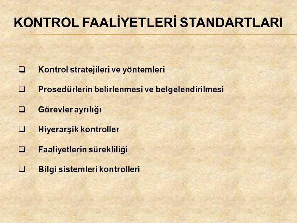 KONTROL FAALİYETLERİ STANDARTLARI  Kontrol stratejileri ve yöntemleri  Prosedürlerin belirlenmesi ve belgelendirilmesi  Görevler ayrılığı  Hiyerar