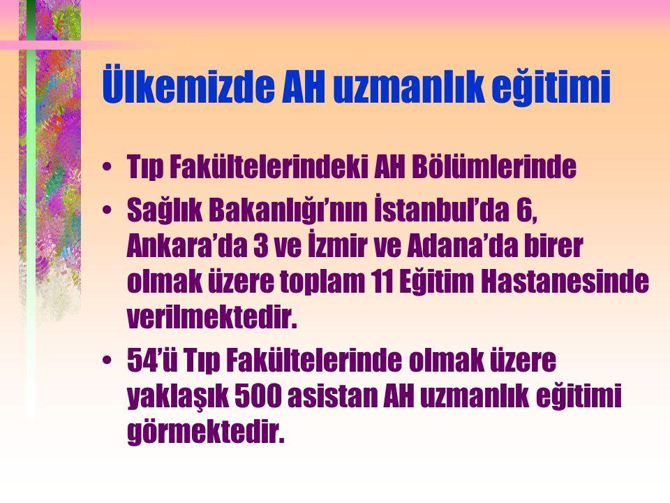 Ülkemizde AH uzmanlık eğitimi Tıp Fakültelerindeki AH Bölümlerinde Sağlık Bakanlığı'nın İstanbul'da 6, Ankara'da 3 ve İzmir ve Adana'da birer olmak üz