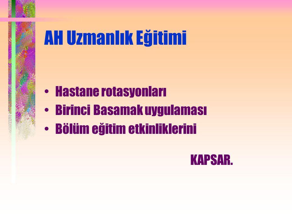 AH Uzmanlık Eğitimi Hastane rotasyonları Birinci Basamak uygulaması Bölüm eğitim etkinliklerini KAPSAR.