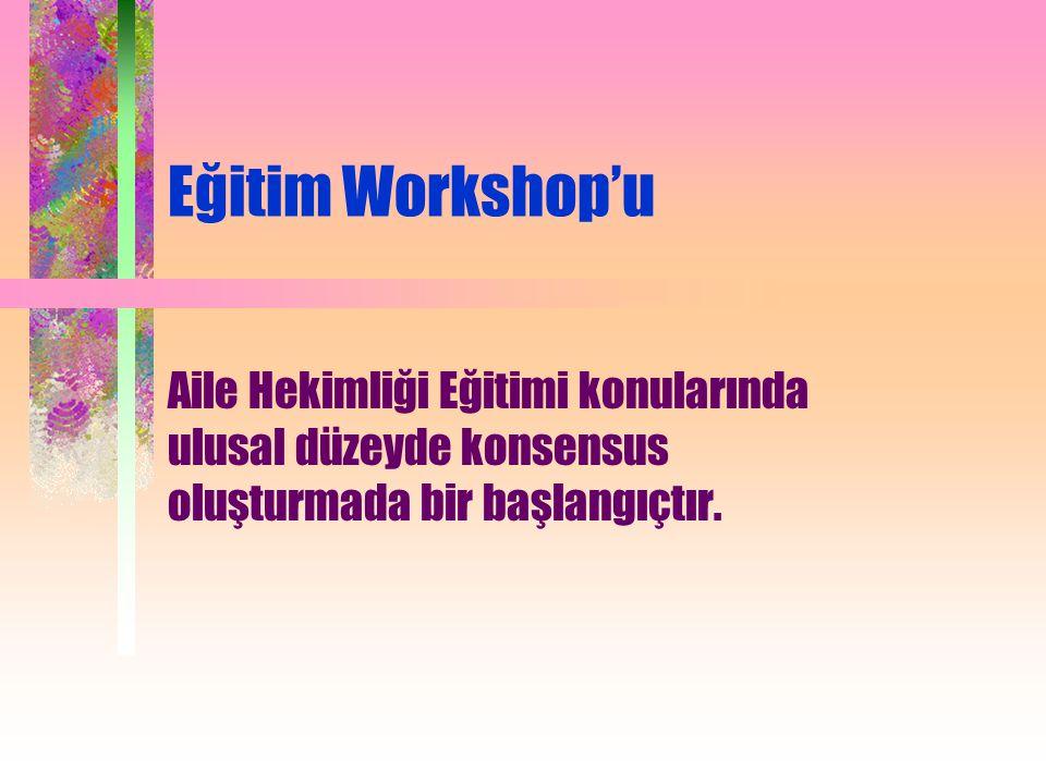 Eğitim Workshop'u Aile Hekimliği Eğitimi konularında ulusal düzeyde konsensus oluşturmada bir başlangıçtır.