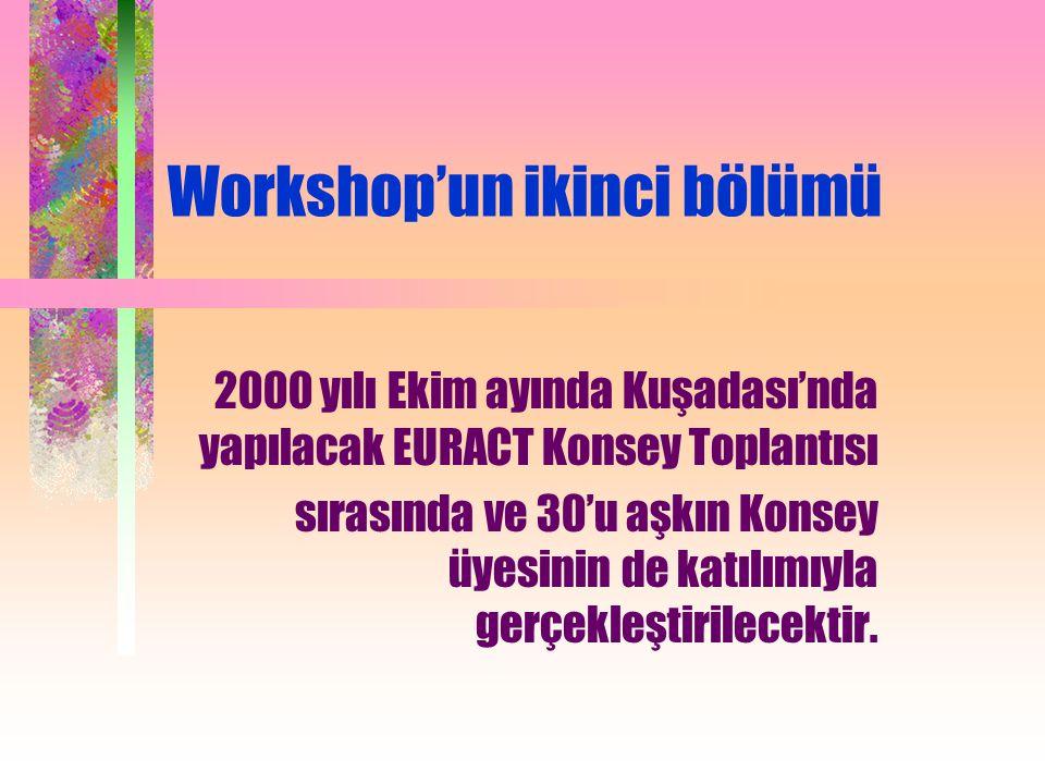 Workshop'un ikinci bölümü 2000 yılı Ekim ayında Kuşadası'nda yapılacak EURACT Konsey Toplantısı sırasında ve 30'u aşkın Konsey üyesinin de katılımıyla gerçekleştirilecektir.