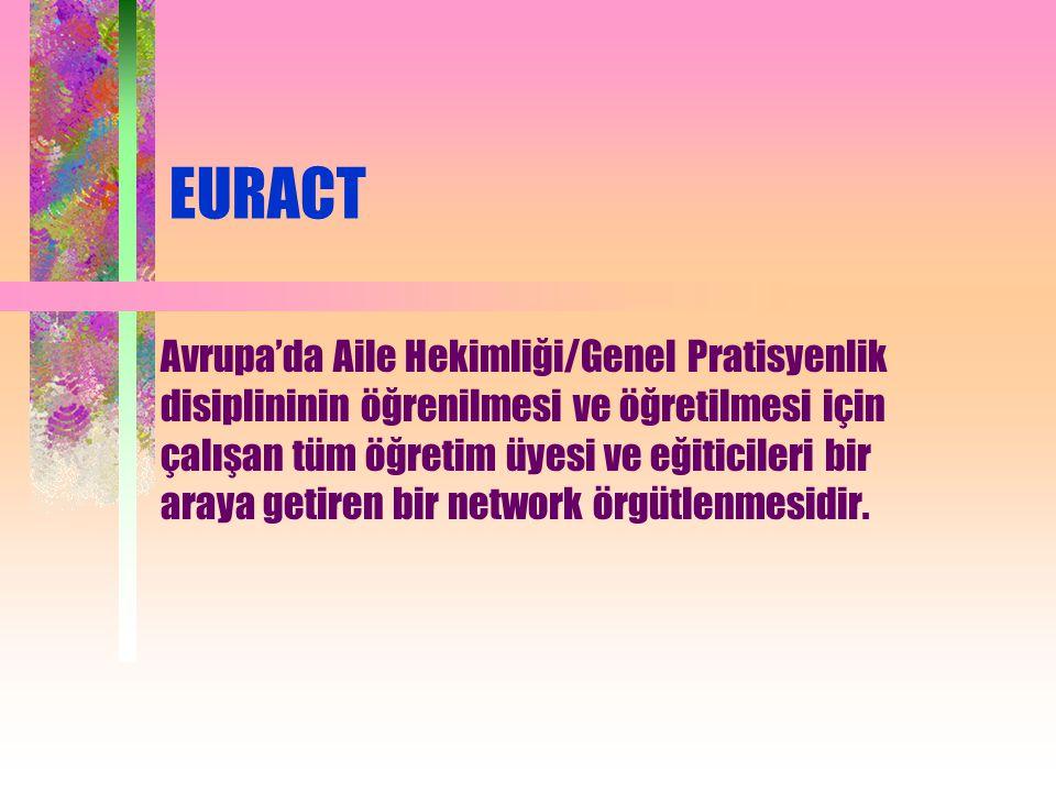 EURACT Avrupa'da Aile Hekimliği/Genel Pratisyenlik disiplininin öğrenilmesi ve öğretilmesi için çalışan tüm öğretim üyesi ve eğiticileri bir araya getiren bir network örgütlenmesidir.