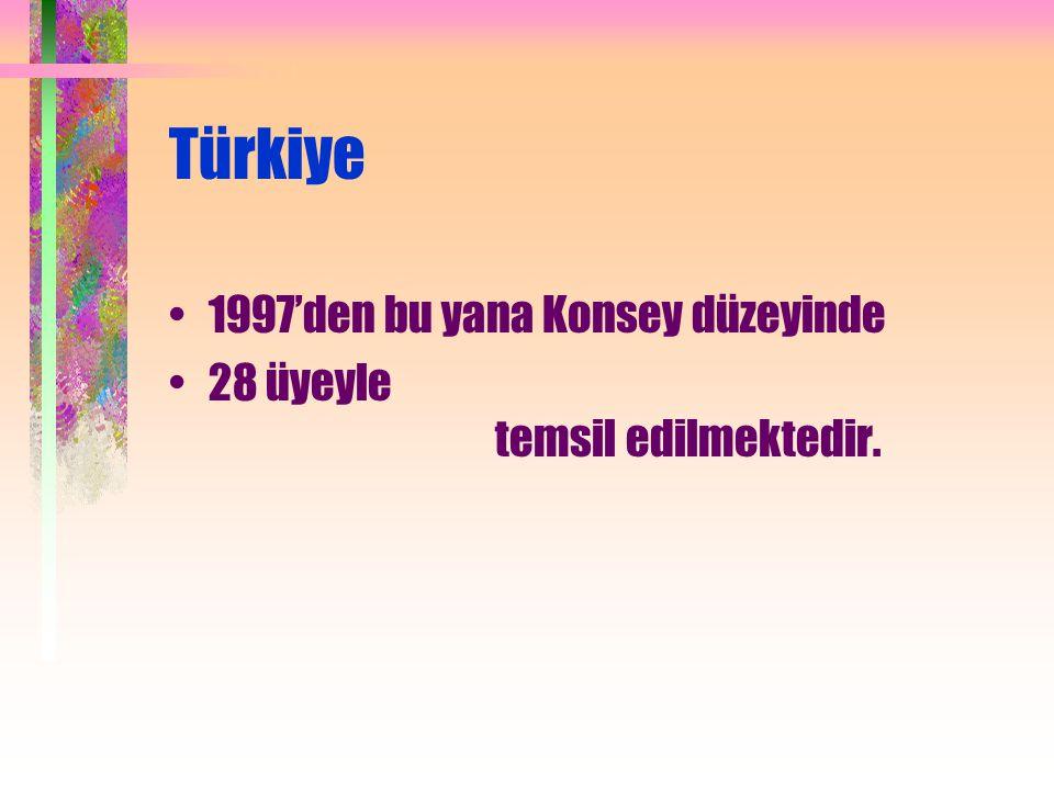 Türkiye 1997'den bu yana Konsey düzeyinde 28 üyeyle temsil edilmektedir.