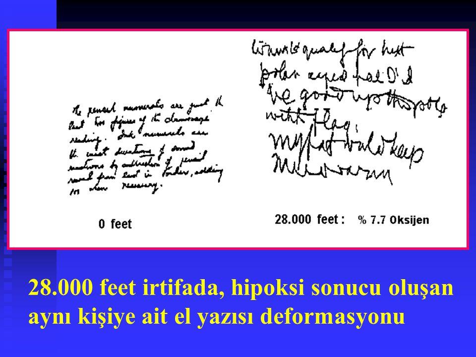 28.000 feet irtifada, hipoksi sonucu oluşan aynı kişiye ait el yazısı deformasyonu