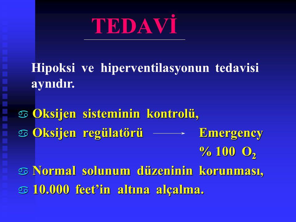 TEDAVİ a Oksijen sisteminin kontrolü, a Oksijen regülatörü Emergency % 100 O 2 % 100 O 2 a Normal solunum düzeninin korunması, a 10.000 feet'in altına