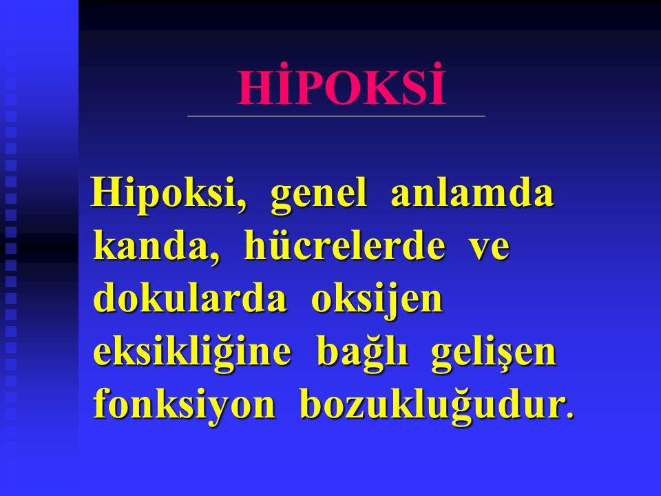 HİPOKSİ Hipoksi, genel anlamda kanda, hücrelerde ve dokularda oksijen eksikliğine bağlı gelişen fonksiyon bozukluğudur. Hipoksi, genel anlamda kanda,
