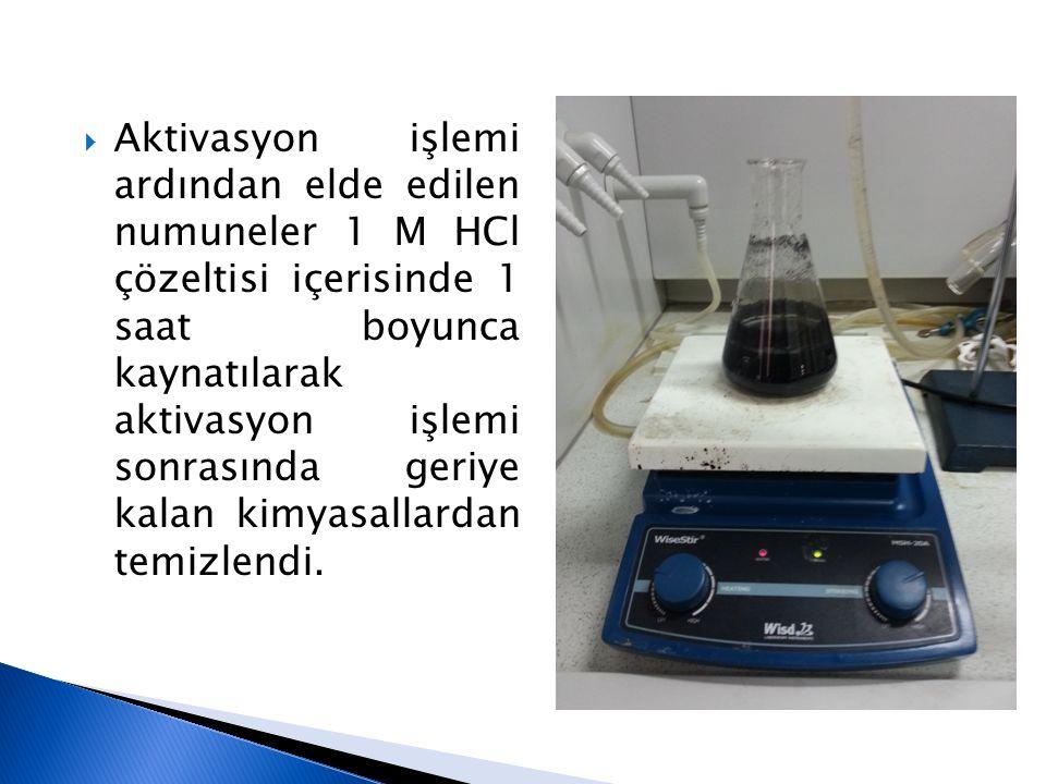  Aktivasyon işlemi ardından elde edilen numuneler 1 M HCl çözeltisi içerisinde 1 saat boyunca kaynatılarak aktivasyon işlemi sonrasında geriye kalan