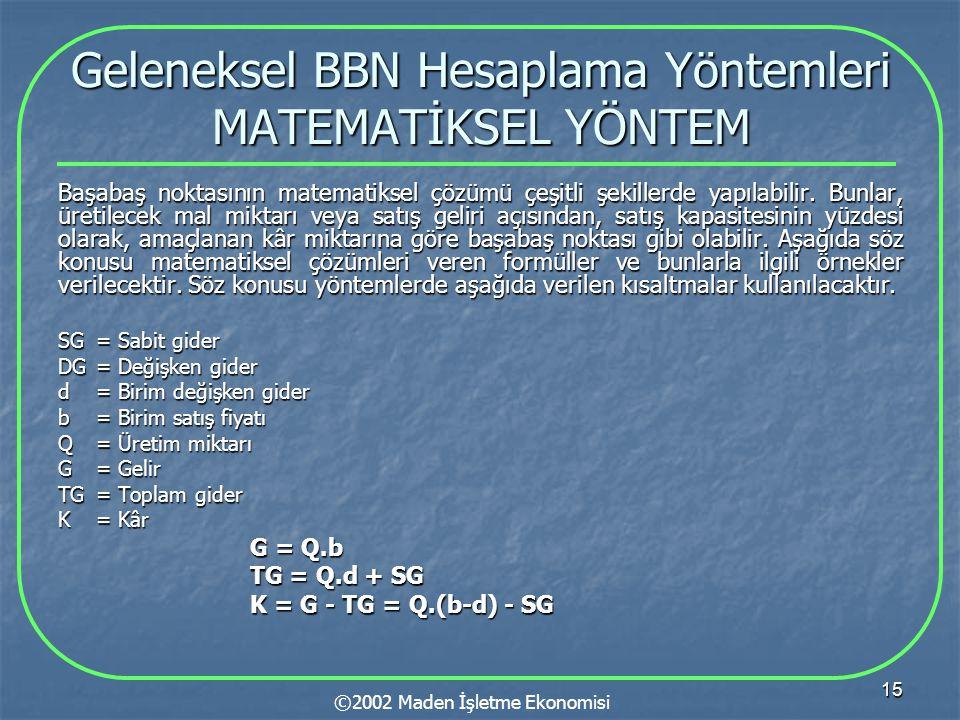 15 Geleneksel BBN Hesaplama Yöntemleri MATEMATİKSEL YÖNTEM Başabaş noktasının matematiksel çözümü çeşitli şekillerde yapılabilir.