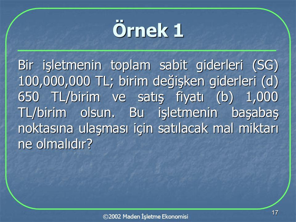 17 Örnek 1 Bir işletmenin toplam sabit giderleri (SG) 100,000,000 TL; birim değişken giderleri (d) 650 TL/birim ve satış fiyatı (b) 1,000 TL/birim olsun.