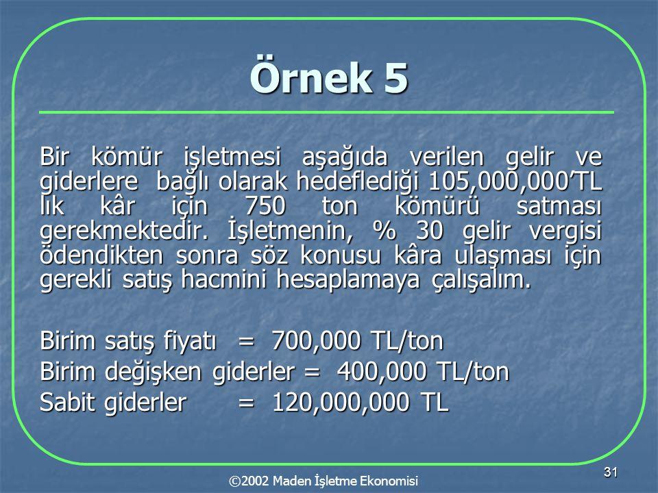 31 Örnek 5 Bir kömür işletmesi aşağıda verilen gelir ve giderlere bağlı olarak hedeflediği 105,000,000'TL lık kâr için 750 ton kömürü satması gerekmektedir.