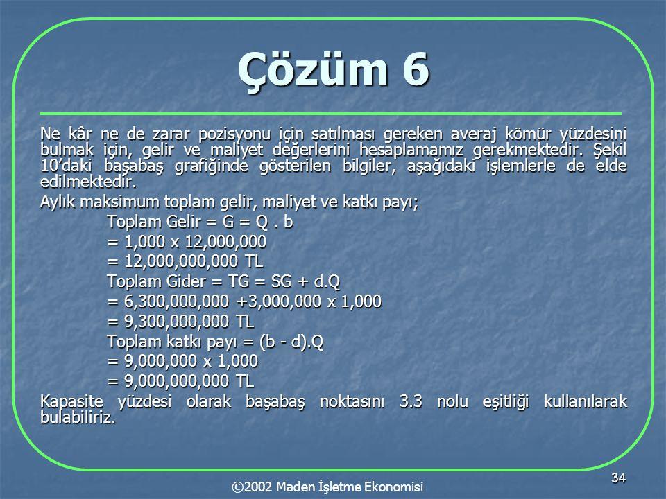 34 Çözüm 6 Ne kâr ne de zarar pozisyonu için satılması gereken averaj kömür yüzdesini bulmak için, gelir ve maliyet değerlerini hesaplamamız gerekmektedir.