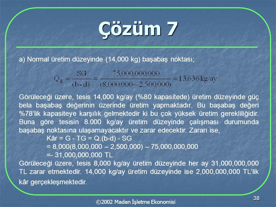 38 Çözüm 7 ©2002 Maden İşletme Ekonomisi a) Normal üretim düzeyinde (14,000 kg) başabaş noktası; Görüleceği üzere, tesis 14,000 kg/ay (%80 kapasitede) üretim düzeyinde güç bela başabaş değerinin üzerinde üretim yapmaktadır.