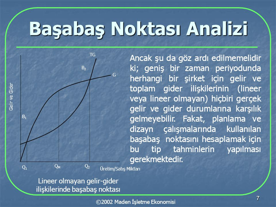 7 Başabaş Noktası Analizi ©2002 Maden İşletme Ekonomisi G TG B1B1 Q1Q1 Gelir ve Gider Üretim/Satış Miktarı Q2Q2 QMQM B2B2 Lineer olmayan gelir-gider ilişkilerinde başabaş noktası Ancak şu da göz ardı edilmemelidir ki; geniş bir zaman periyodunda herhangi bir şirket için gelir ve toplam gider ilişkilerinin (lineer veya lineer olmayan) hiçbiri gerçek gelir ve gider durumlarına karşılık gelmeyebilir.
