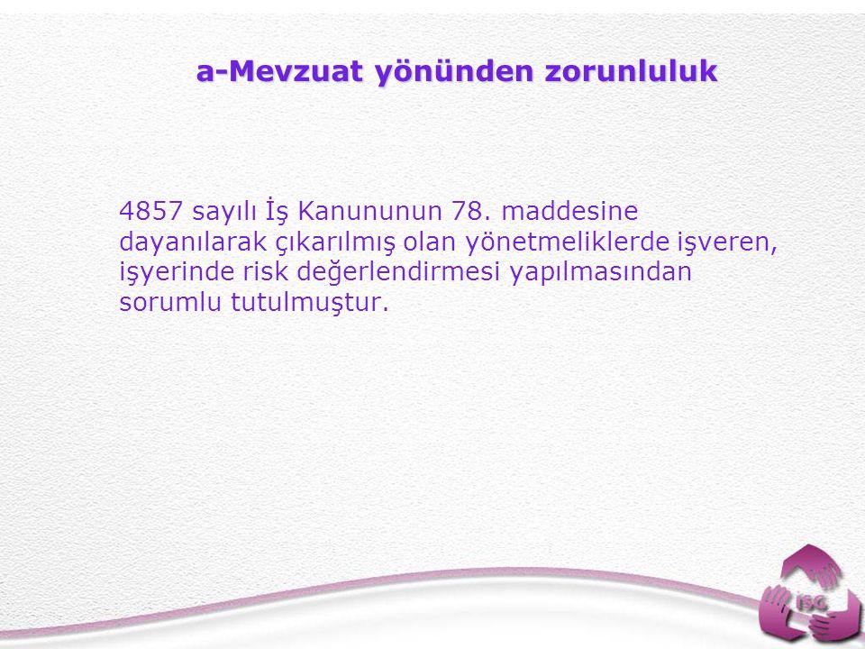 3 a-Mevzuat yönünden zorunluluk 4857 sayılı İş Kanununun 78.