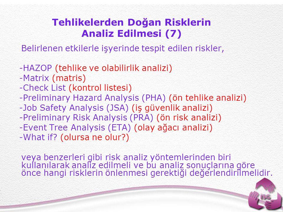 35 Belirlenen etkilerle işyerinde tespit edilen riskler, -HAZOP (tehlike ve olabilirlik analizi) -Matrix (matris) -Check List (kontrol listesi) -Preliminary Hazard Analysis (PHA) (ön tehlike analizi) -Job Safety Analysis (JSA) (iş güvenlik analizi) -Preliminary Risk Analysis (PRA) (ön risk analizi) -Event Tree Analysis (ETA) (olay ağacı analizi) -What if.