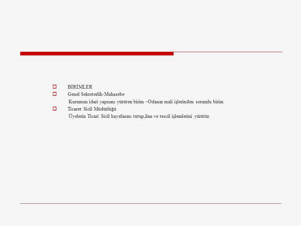 BİRİMLER  Genel Sekreterlik-Muhasebe Kurumun idari yapısını yürüten birim –Odanın mali işlerinden sorumlu birim  Ticaret Sicil Müdürlüğü Üyelerin
