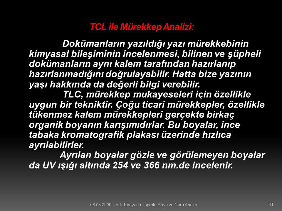 TCL ile Mürekkep Analizi: Dokümanların yazıldığı yazı mürekkebinin kimyasal bileşiminin incelenmesi, bilinen ve şüpheli dokümanların aynı kalem tarafı