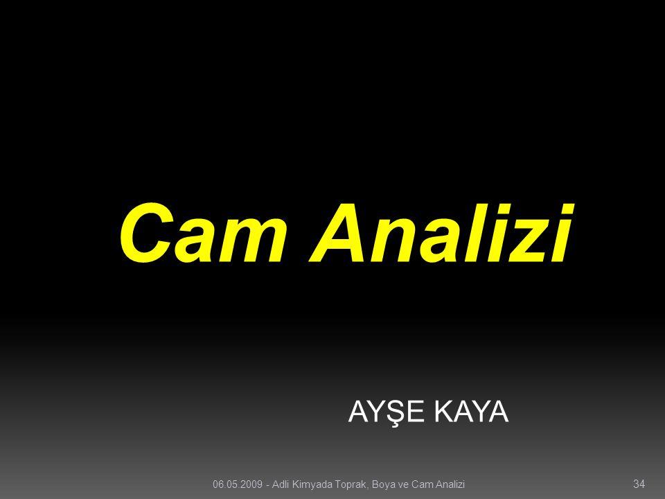 Cam Analizi AYŞE KAYA 34 06.05.2009 - Adli Kimyada Toprak, Boya ve Cam Analizi