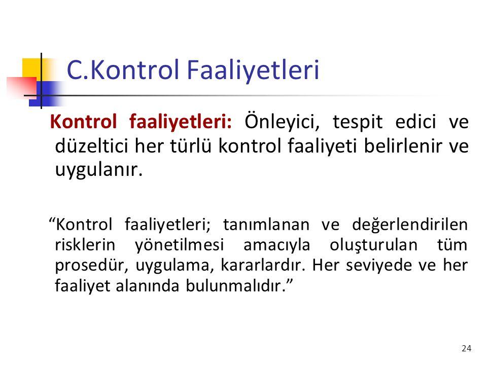 """24 C.Kontrol Faaliyetleri Kontrol faaliyetleri: Önleyici, tespit edici ve düzeltici her türlü kontrol faaliyeti belirlenir ve uygulanır. """"Kontrol faal"""