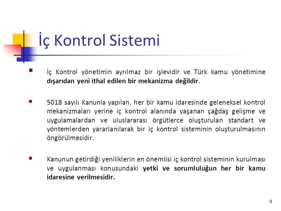 4 İç Kontrol Sistemi  İç Kontrol yönetimin ayrılmaz bir işlevidir ve Türk kamu yönetimine dışarıdan yeni ithal edilen bir mekanizma değildir.  5018