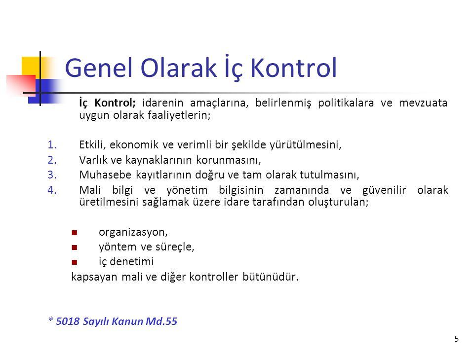 5 Genel Olarak İç Kontrol İç Kontrol; idarenin amaçlarına, belirlenmiş politikalara ve mevzuata uygun olarak faaliyetlerin; 1.Etkili, ekonomik ve veri