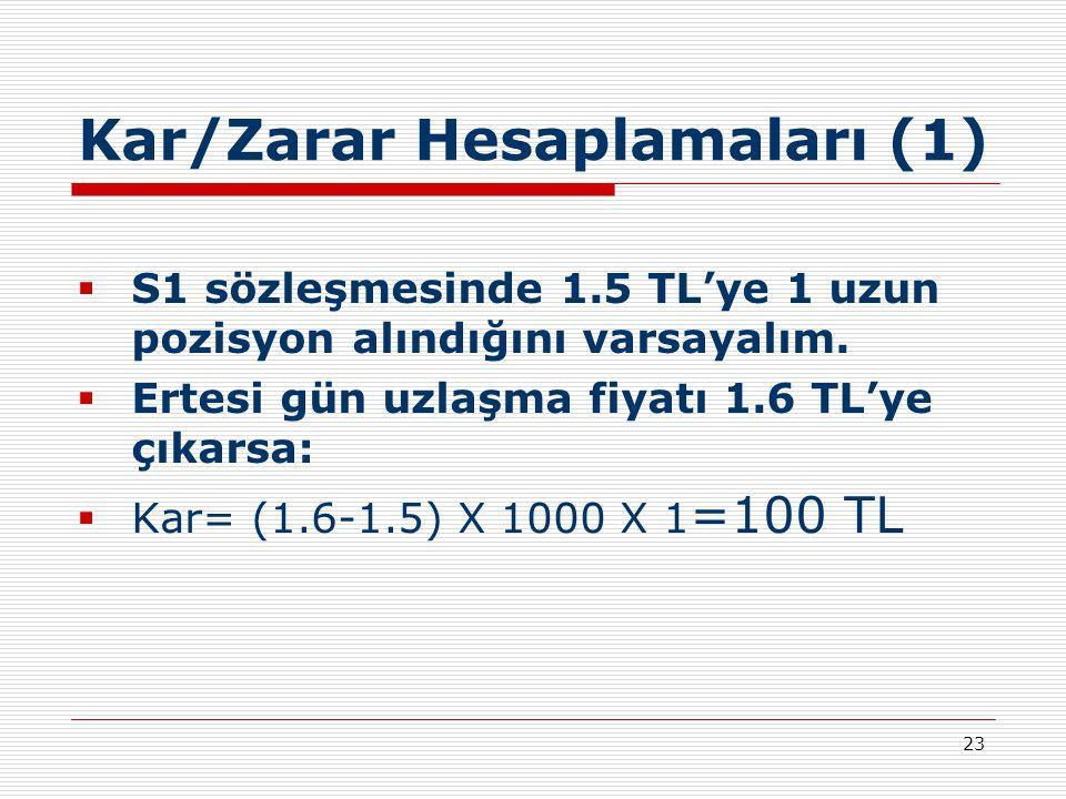 23 Kar/Zarar Hesaplamaları (1)  S1 sözleşmesinde 1.5 TL'ye 1 uzun pozisyon alındığını varsayalım.  Ertesi gün uzlaşma fiyatı 1.6 TL'ye çıkarsa:  Ka