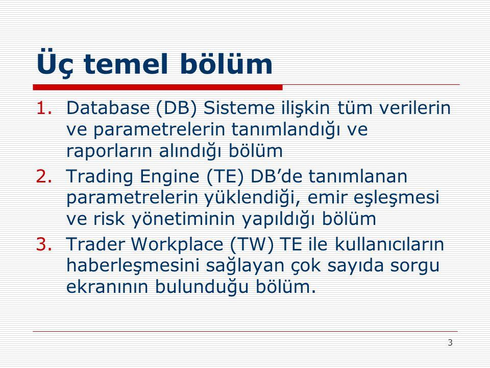 3 Üç temel bölüm 1.Database (DB) Sisteme ilişkin tüm verilerin ve parametrelerin tanımlandığı ve raporların alındığı bölüm 2.Trading Engine (TE) DB'de