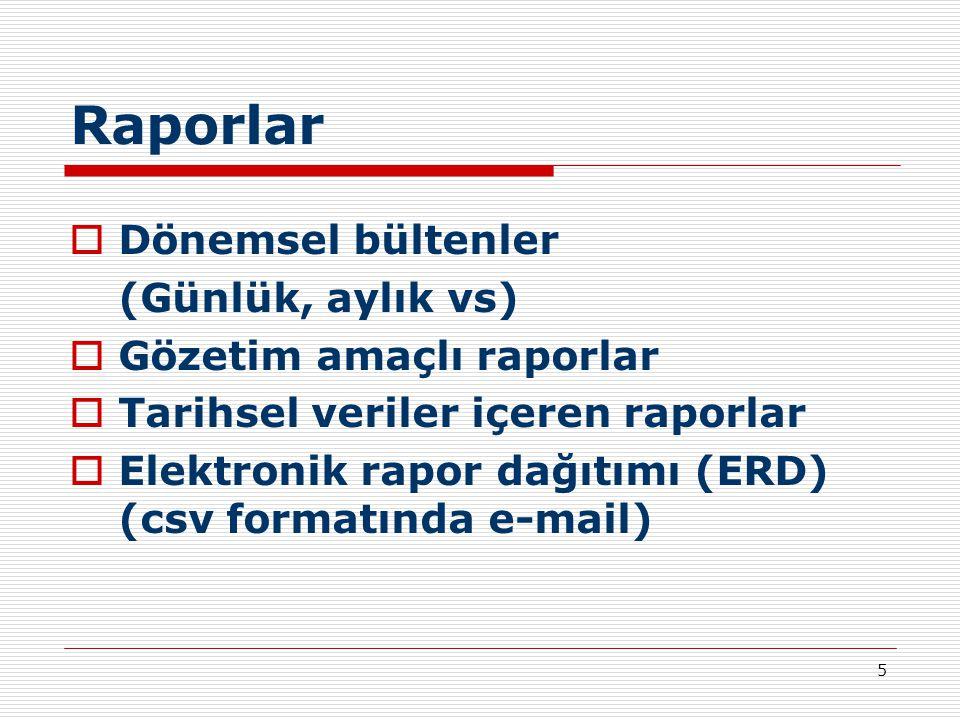 5 Raporlar  Dönemsel bültenler (Günlük, aylık vs)  Gözetim amaçlı raporlar  Tarihsel veriler içeren raporlar  Elektronik rapor dağıtımı (ERD) (csv