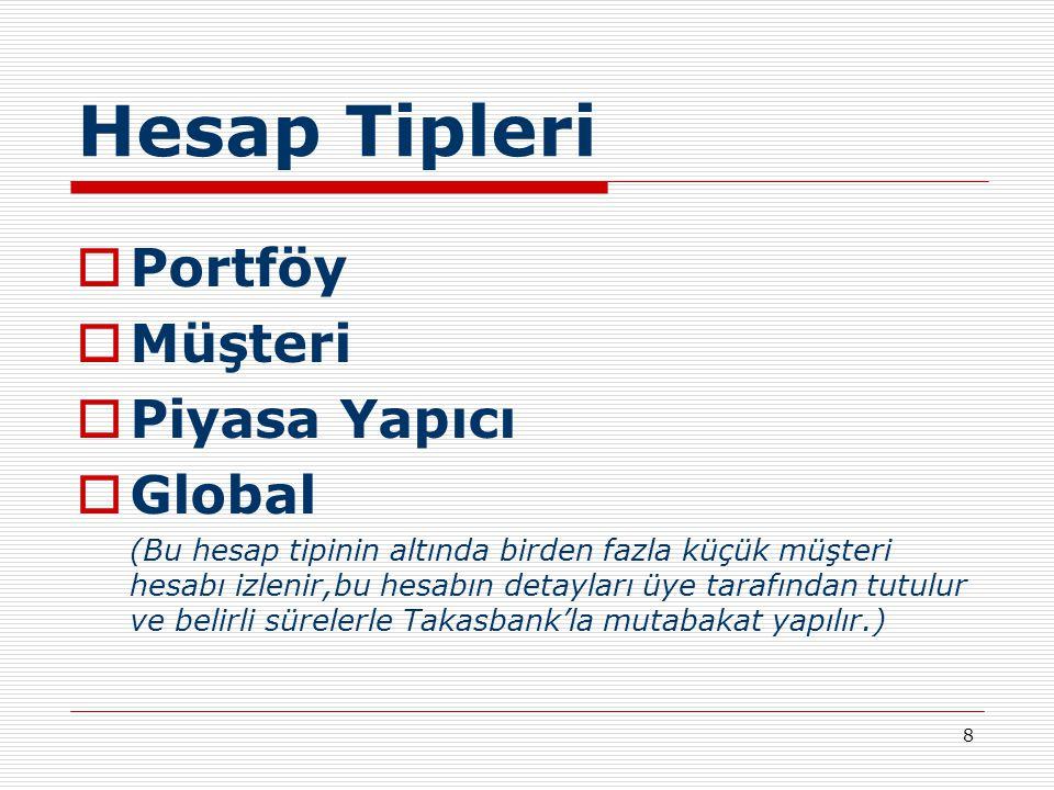 8 Hesap Tipleri  Portföy  Müşteri  Piyasa Yapıcı  Global (Bu hesap tipinin altında birden fazla küçük müşteri hesabı izlenir,bu hesabın detayları