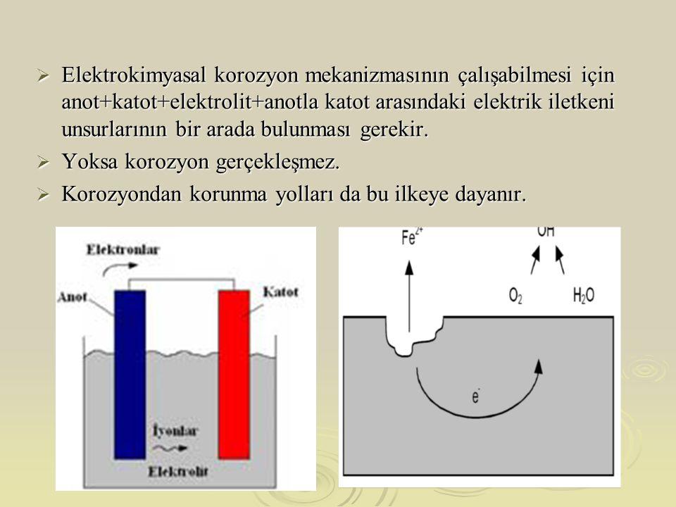  Elektrokimyasal korozyon mekanizmasının çalışabilmesi için anot+katot+elektrolit+anotla katot arasındaki elektrik iletkeni unsurlarının bir arada bulunması gerekir.