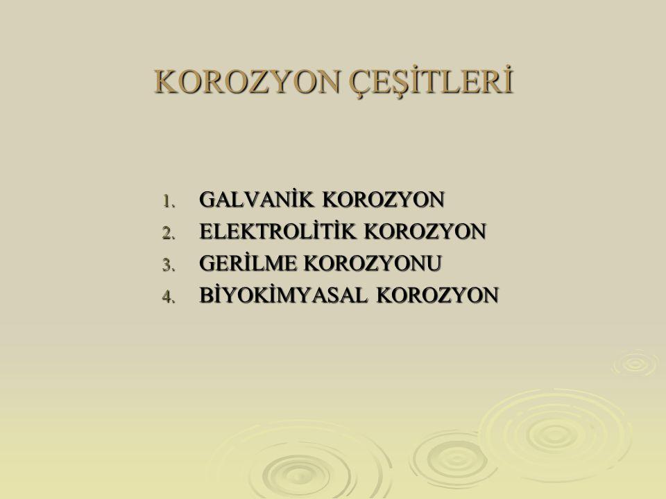 KOROZYON ÇEŞİTLERİ 1.GALVANİK KOROZYON 2. ELEKTROLİTİK KOROZYON 3.
