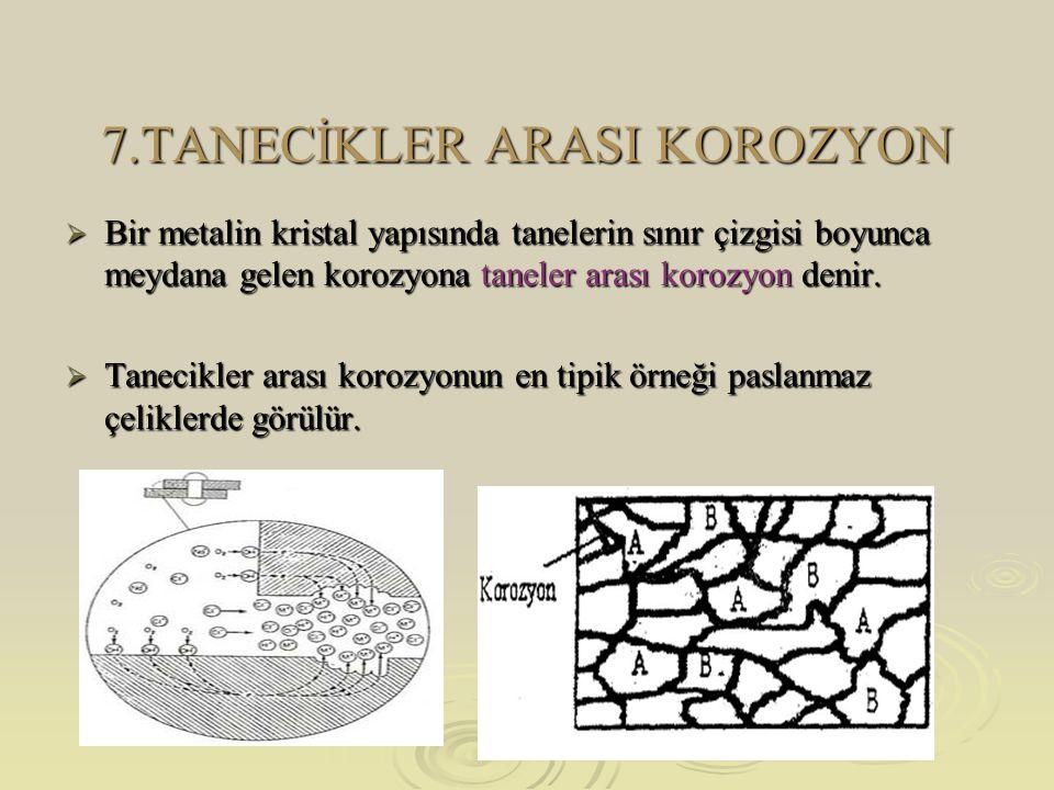7.TANECİKLER ARASI KOROZYON  Bir metalin kristal yapısında tanelerin sınır çizgisi boyunca meydana gelen korozyona taneler arası korozyon denir.