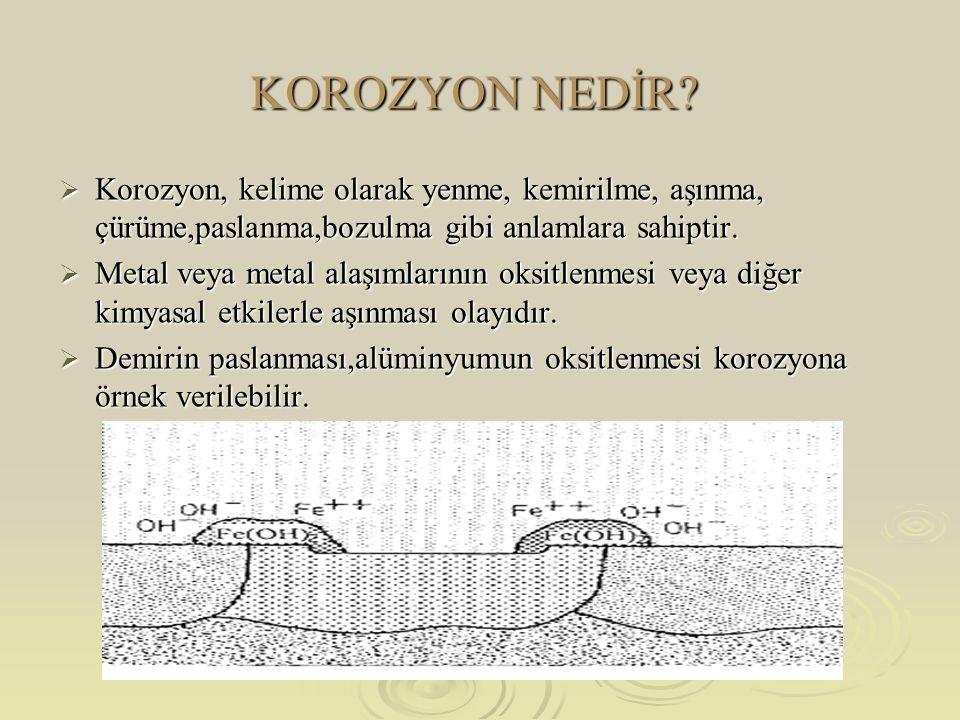  Anot,yüzeyin herhangi bir noktasında açılan çukurun içindeki dar bir bölge,katot ise çukurun çevresindeki çok geniş bir alandır.