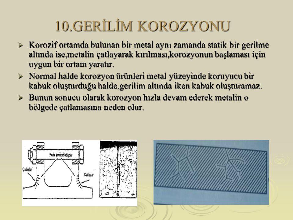 10.GERİLİM KOROZYONU  Korozif ortamda bulunan bir metal aynı zamanda statik bir gerilme altında ise,metalin çatlayarak kırılması,korozyonun başlaması için uygun bir ortam yaratır.