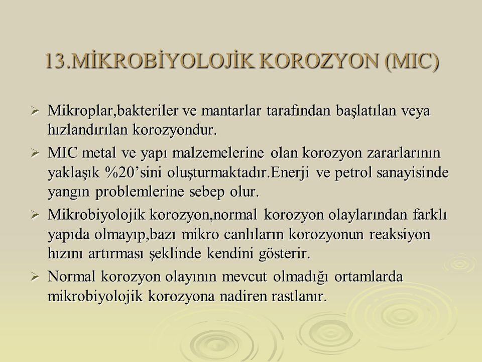 13.MİKROBİYOLOJİK KOROZYON (MIC)  Mikroplar,bakteriler ve mantarlar tarafından başlatılan veya hızlandırılan korozyondur.