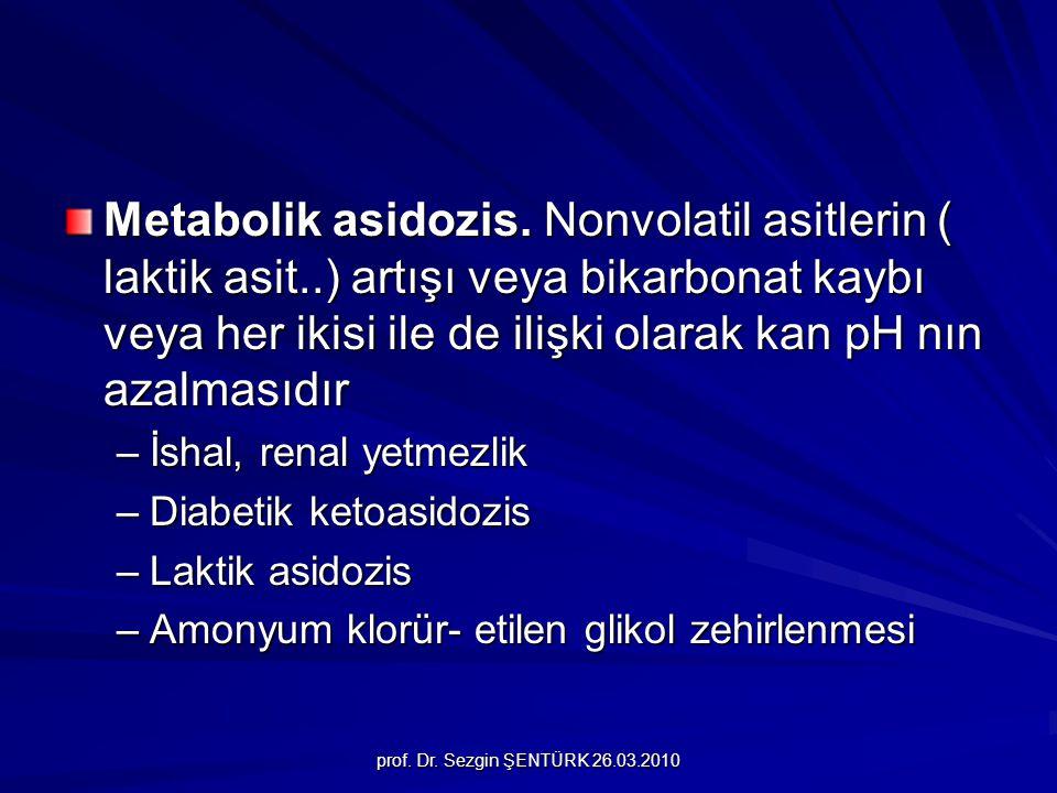 prof. Dr. Sezgin ŞENTÜRK 26.03.2010 Metabolik asidozis. Nonvolatil asitlerin ( laktik asit..) artışı veya bikarbonat kaybı veya her ikisi ile de ilişk