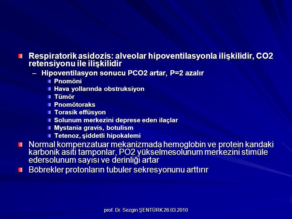prof. Dr. Sezgin ŞENTÜRK 26.03.2010 Respiratorik asidozis: alveolar hipoventilasyonla ilişkilidir, CO2 retensiyonu ile ilişkilidir –Hipoventilasyon so