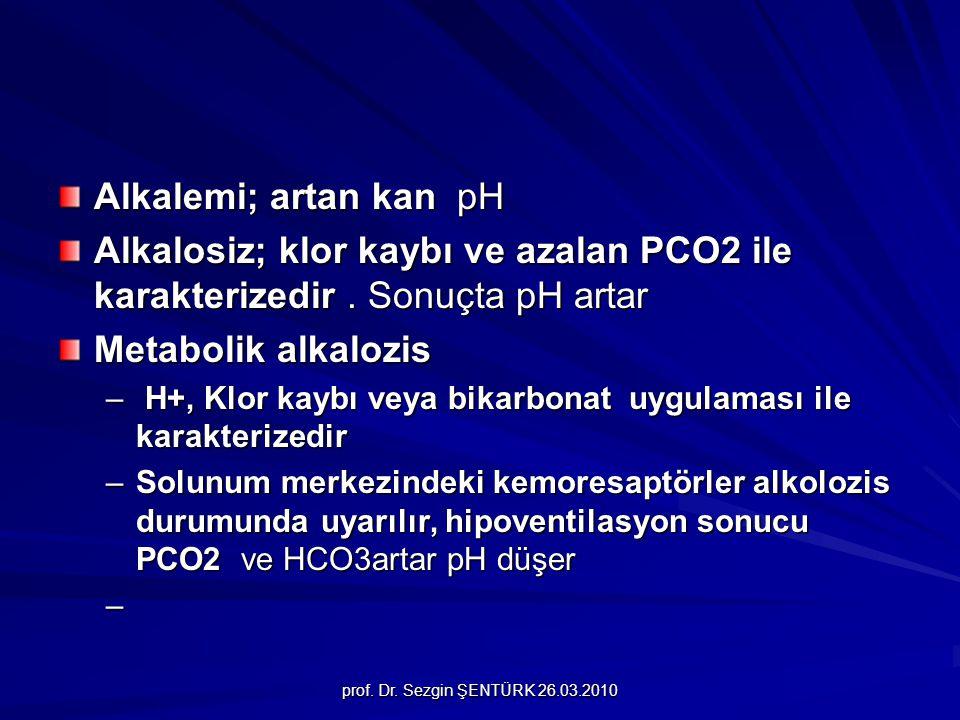 prof. Dr. Sezgin ŞENTÜRK 26.03.2010 Alkalemi; artan kan pH Alkalosiz; klor kaybı ve azalan PCO2 ile karakterizedir. Sonuçta pH artar Metabolik alkaloz