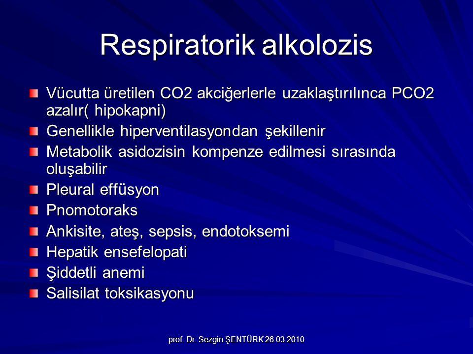 prof. Dr. Sezgin ŞENTÜRK 26.03.2010 Respiratorik alkolozis Vücutta üretilen CO2 akciğerlerle uzaklaştırılınca PCO2 azalır( hipokapni) Genellikle hiper