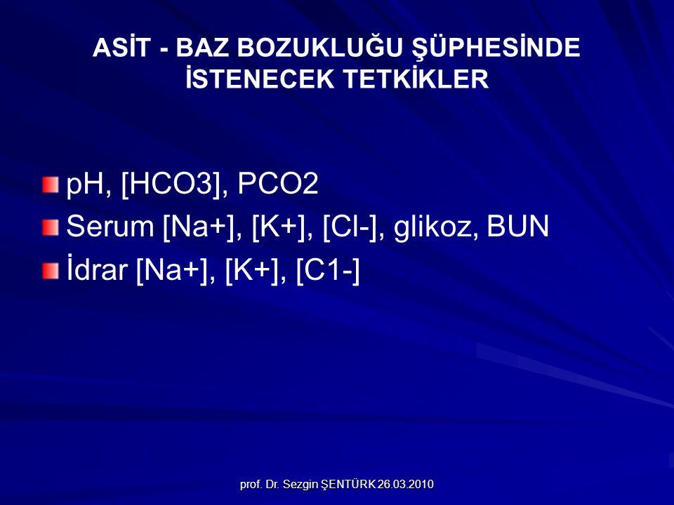 prof. Dr. Sezgin ŞENTÜRK 26.03.2010 ASİT - BAZ BOZUKLUĞU ŞÜPHESİNDE İSTENECEK TETKİKLER pH, [HCO3], PCO2 Serum [Na+], [K+], [Cl-], glikoz, BUN İdrar [